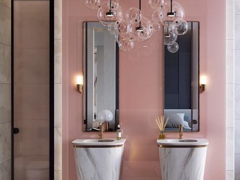 """Дизайн интерьера ванной в Санкт-Петербурге """"Розовые стильные ванные комнаты"""""""